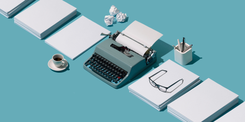 typewriter, glasses and coffee